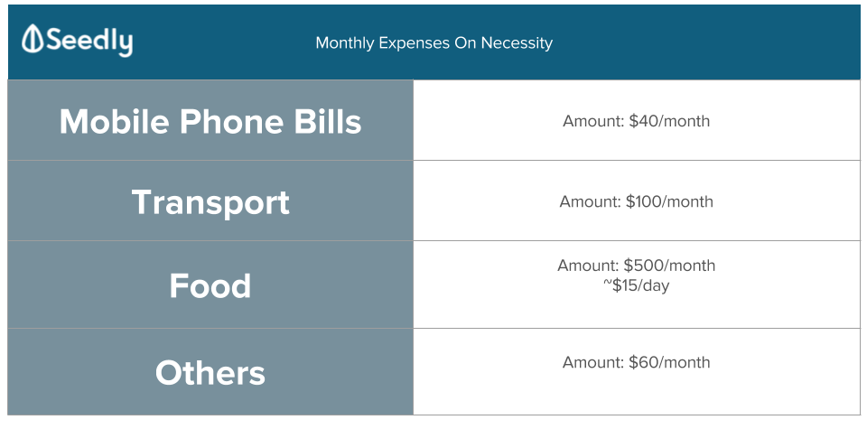 monthly expenses on necessity