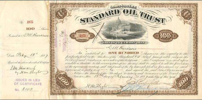 1887_Standard_Oil_Stock_Certificate_of_DM_Harkness