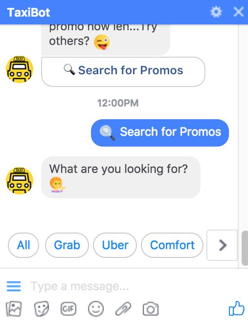 Taxibot, Rides promo chatbot