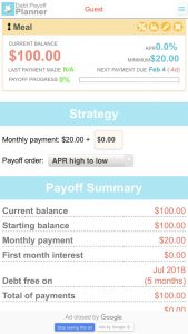 debt pay off planner app