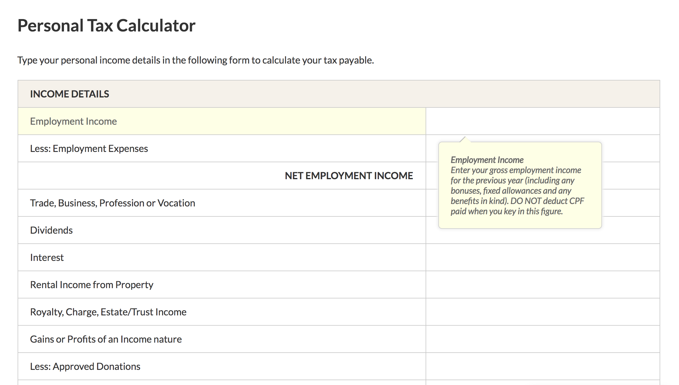 Personal InCome Tax Calculator Singapore