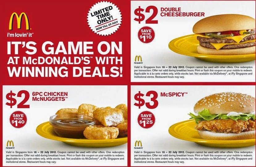 McDonald's coupon from 2012
