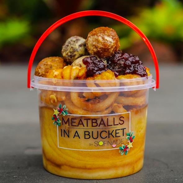 Geylang serai meatballs in a bucket
