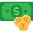 Dollar Bill And Coins