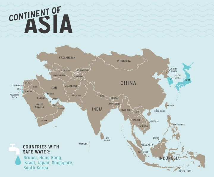 Continent Of Asia Showing Countries With Safe Water