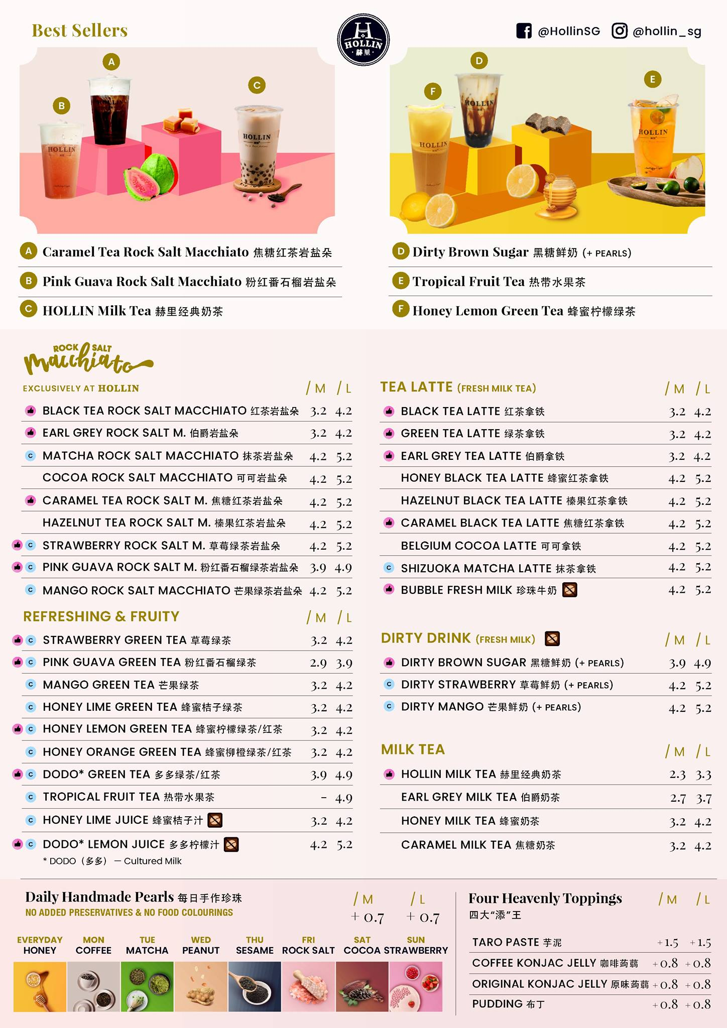 Hollin Singapore Menu Bubble Tea