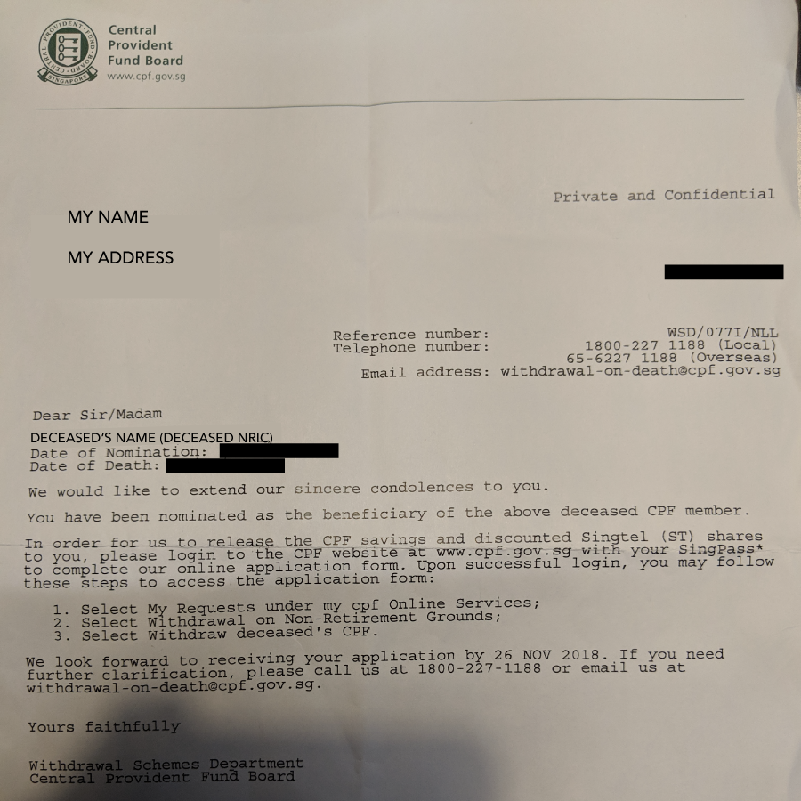 CPF Nomination letter, what happens after a deceased CPF member