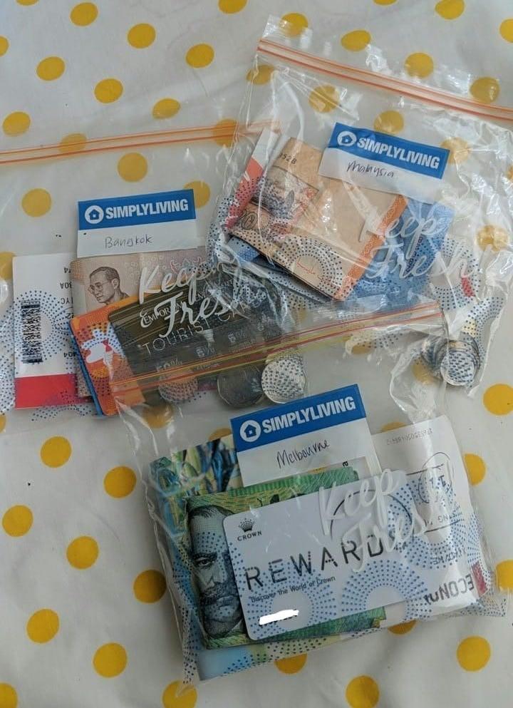 Storing money in ziplock bags