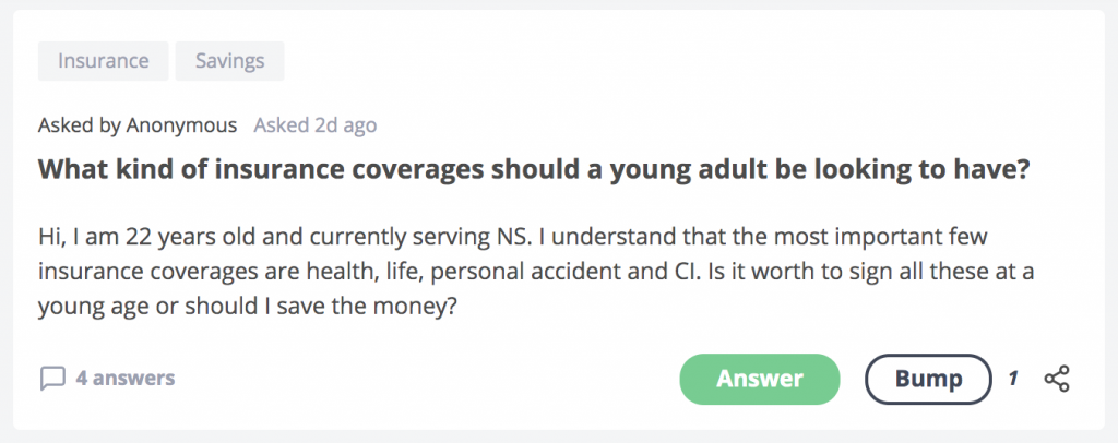 SeedlyQnA Working Adult Insurance