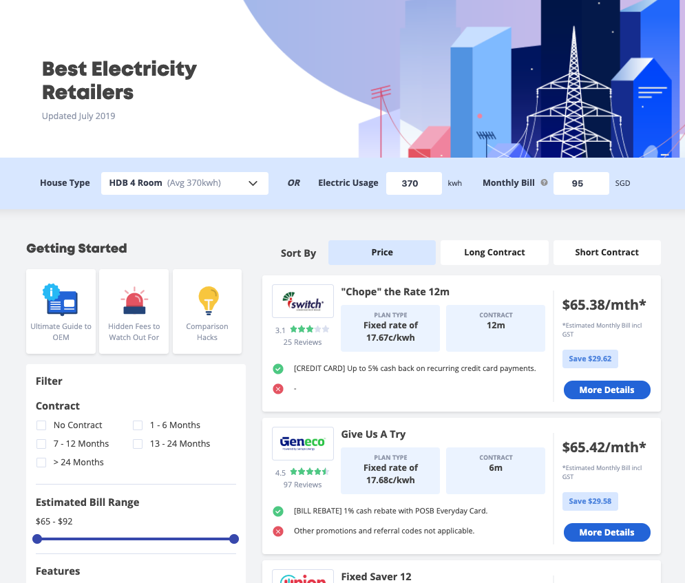 Seedly Open Electricity Market Comparison Tool