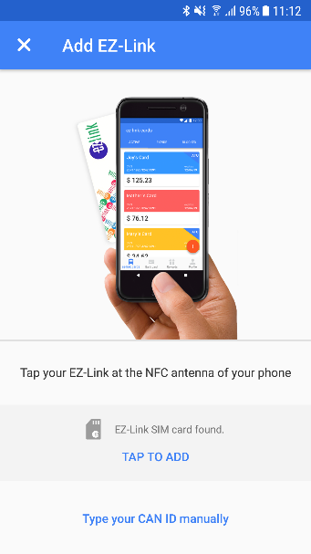 Topping up EZ-Link with NFC enabled phones