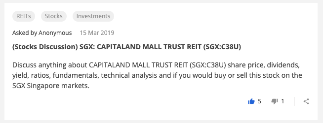 Stocks Discussion CAPITALAND MALL TRUST REIT SGX C38U