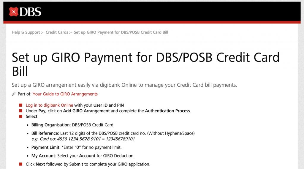 DBS Giro For SP Service Utilities