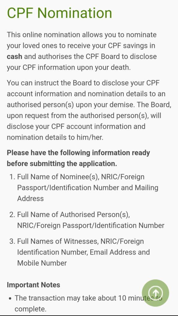 Make your CPF NOmination Online