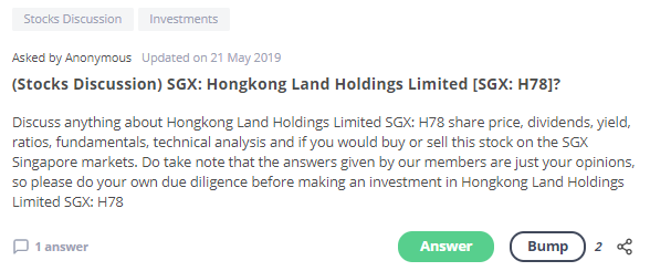 Hongkong Land Holdings Stock Discussion Seedly QnA