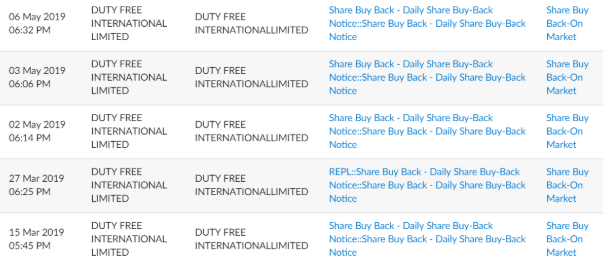 Duty Free International share buy bak