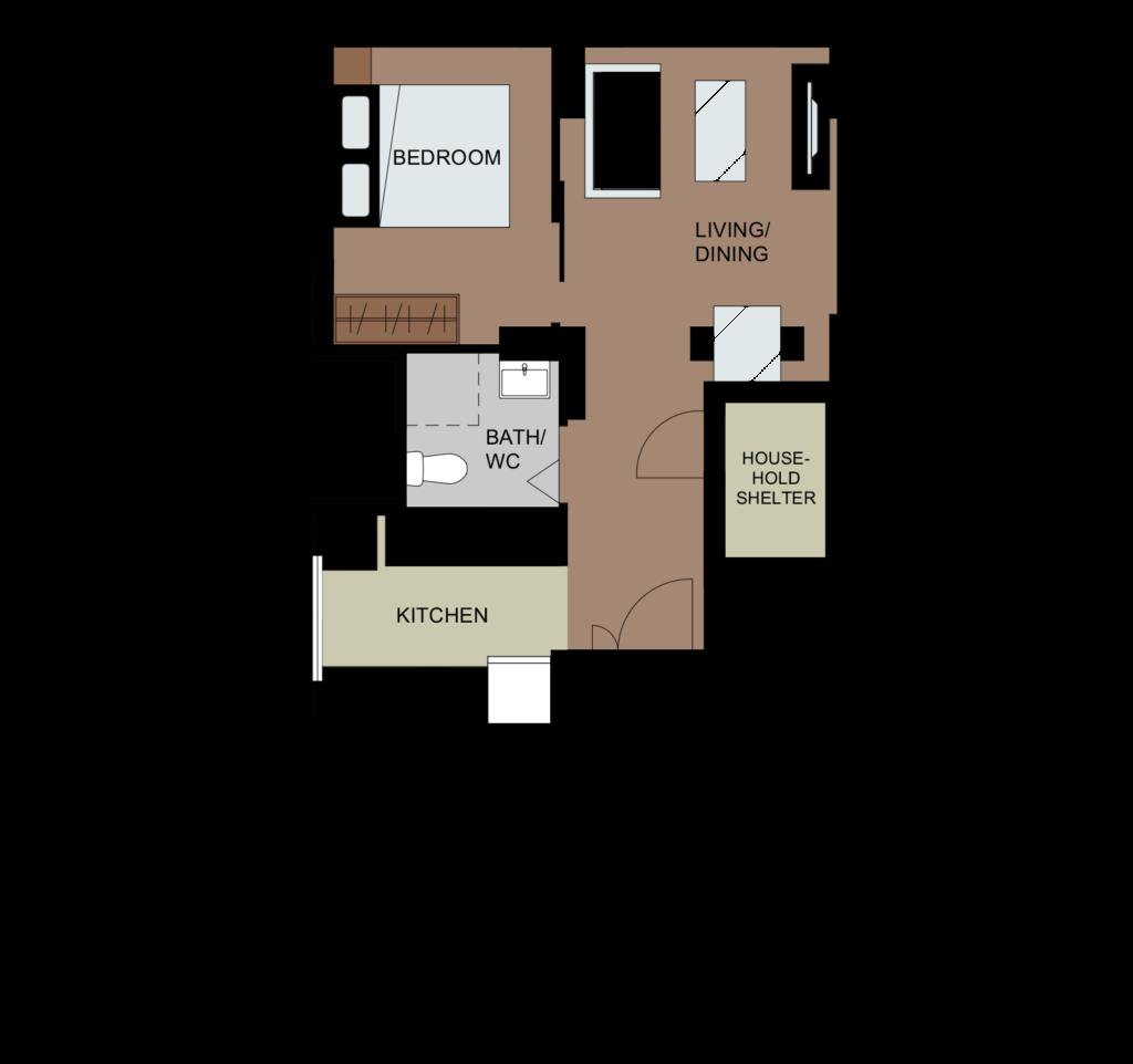2-Room Flexi Type 2 Floor Plan