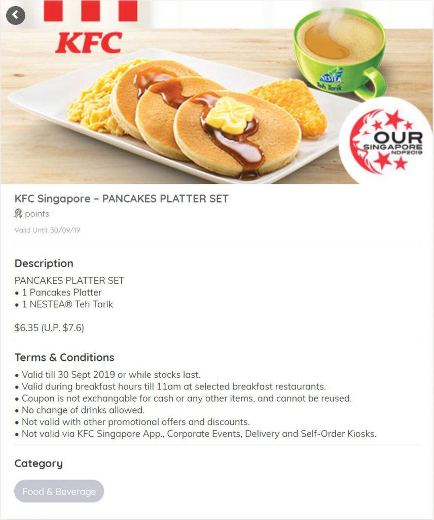 KFC NDP Discount Coupon pancakes platter set