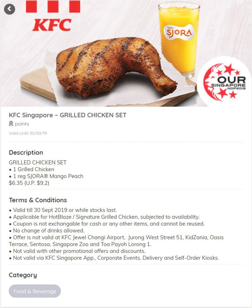 KFC NDP Discount Coupon Grilled chicken set