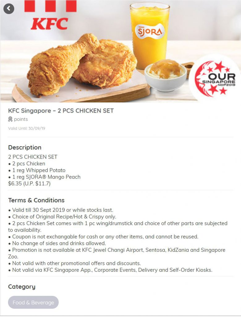 KFC NDP DIscount coupons 2 Piece chicken set