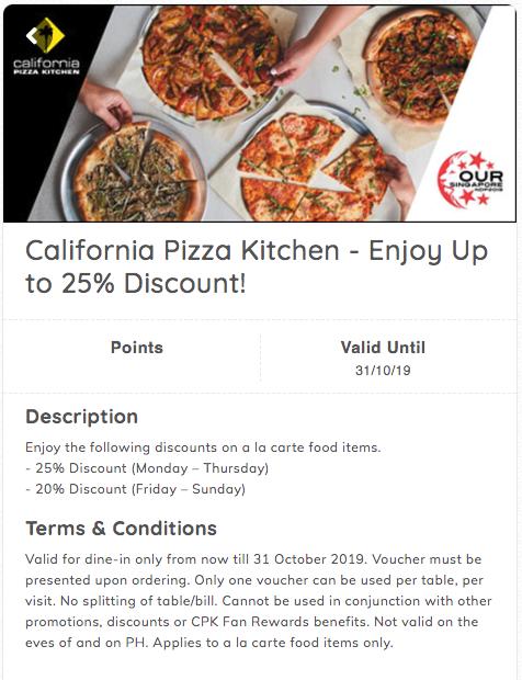 California Pizza Kitchen, NDP 25% off