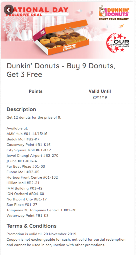 Dunkin Donuts buy 9 free 3 NDP promo