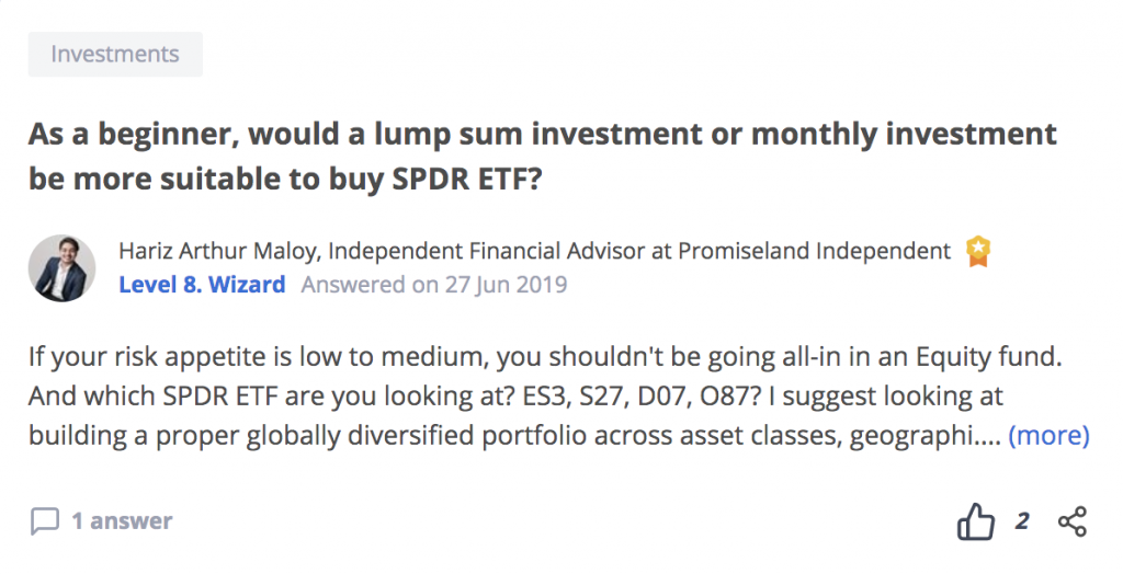 As a beginner, would a lump sum investment or monthly investment be more suitable to buy SPDR ETF?
