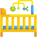 illustration of crib with toy