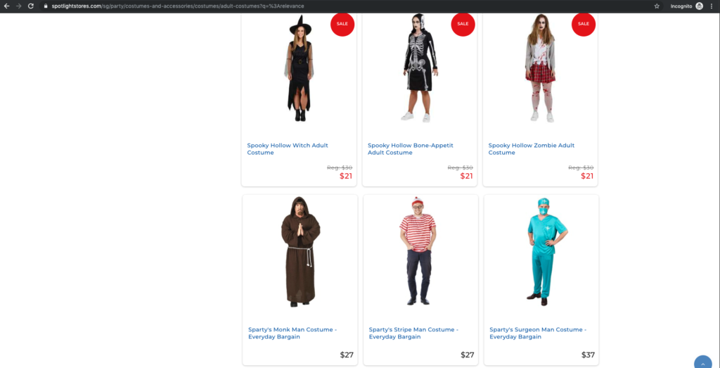 Spotlight search for halloween costumes