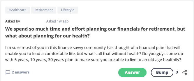question about planning for health on top of planning for finances for retirement