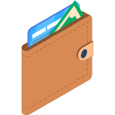 Wallet with Credit Cards Sticking Out Isometric