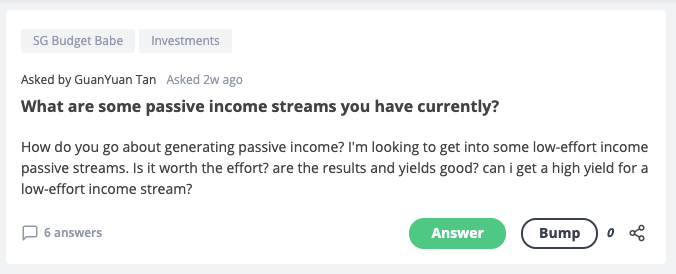 Seedly Q&A on low-effort passive income stream