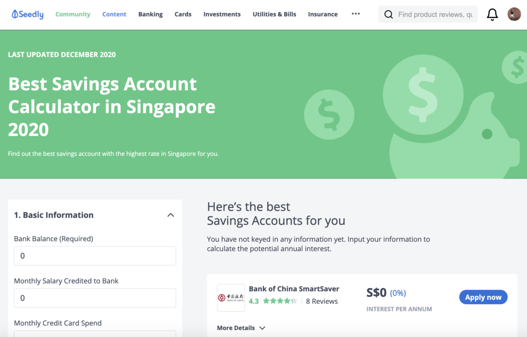 Best Savings Account Calculator Seedly Singapore