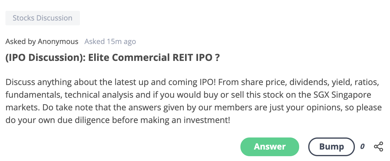 Elite Commercial REIT Seedly Community Q&A