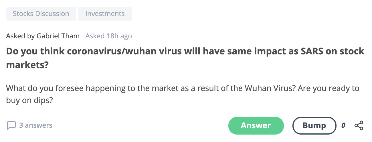 Seedly Q&A Wuhan-stock market question