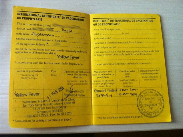 Yellow Fever Booklet
