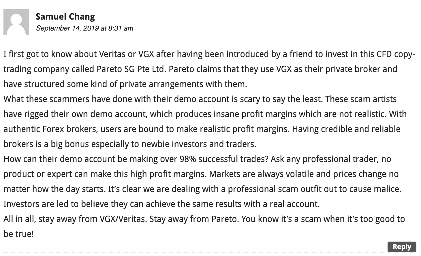 Negative review of VGX Trade