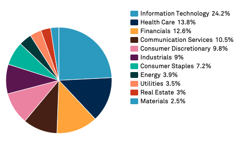 US S&P500 index sector breakdown (as of 31 Jan 2020)