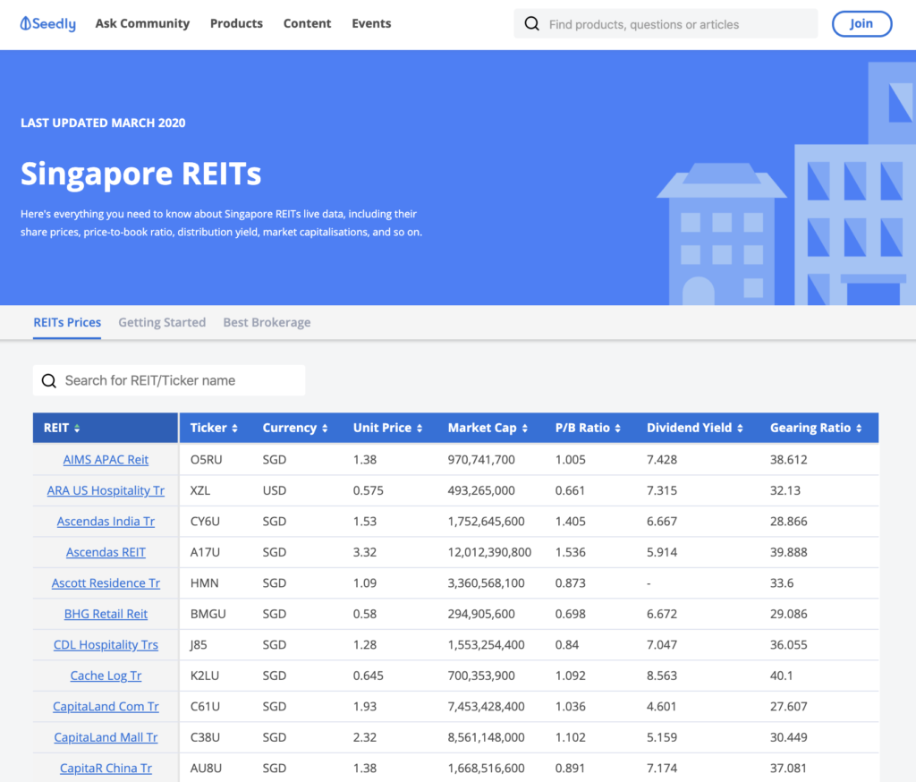 Seedly REITs Tool Screenshot