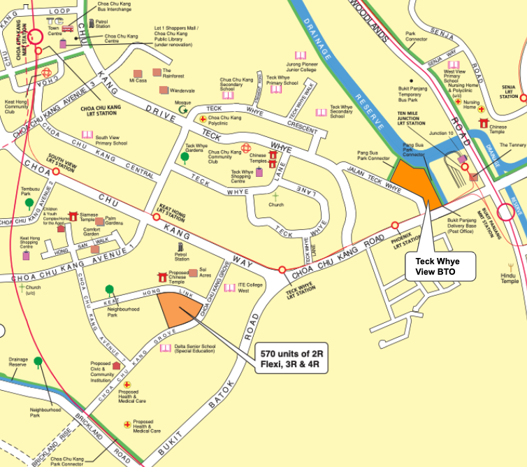 Map of CCK BTO May Launch and Teck Whye View