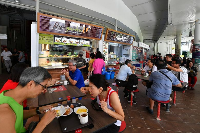 Customers Eating at Pasir Ris Central Hawker Centre
