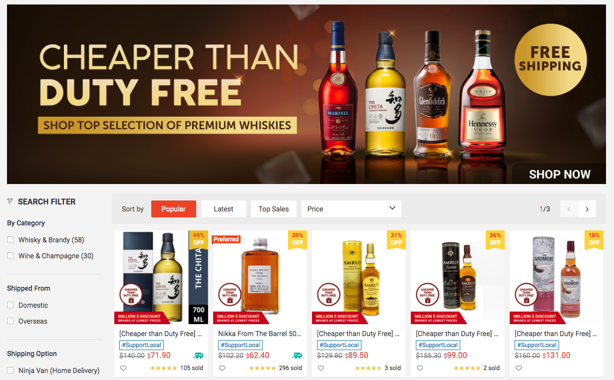 Shopee cheaper than DFS alcohol delivery