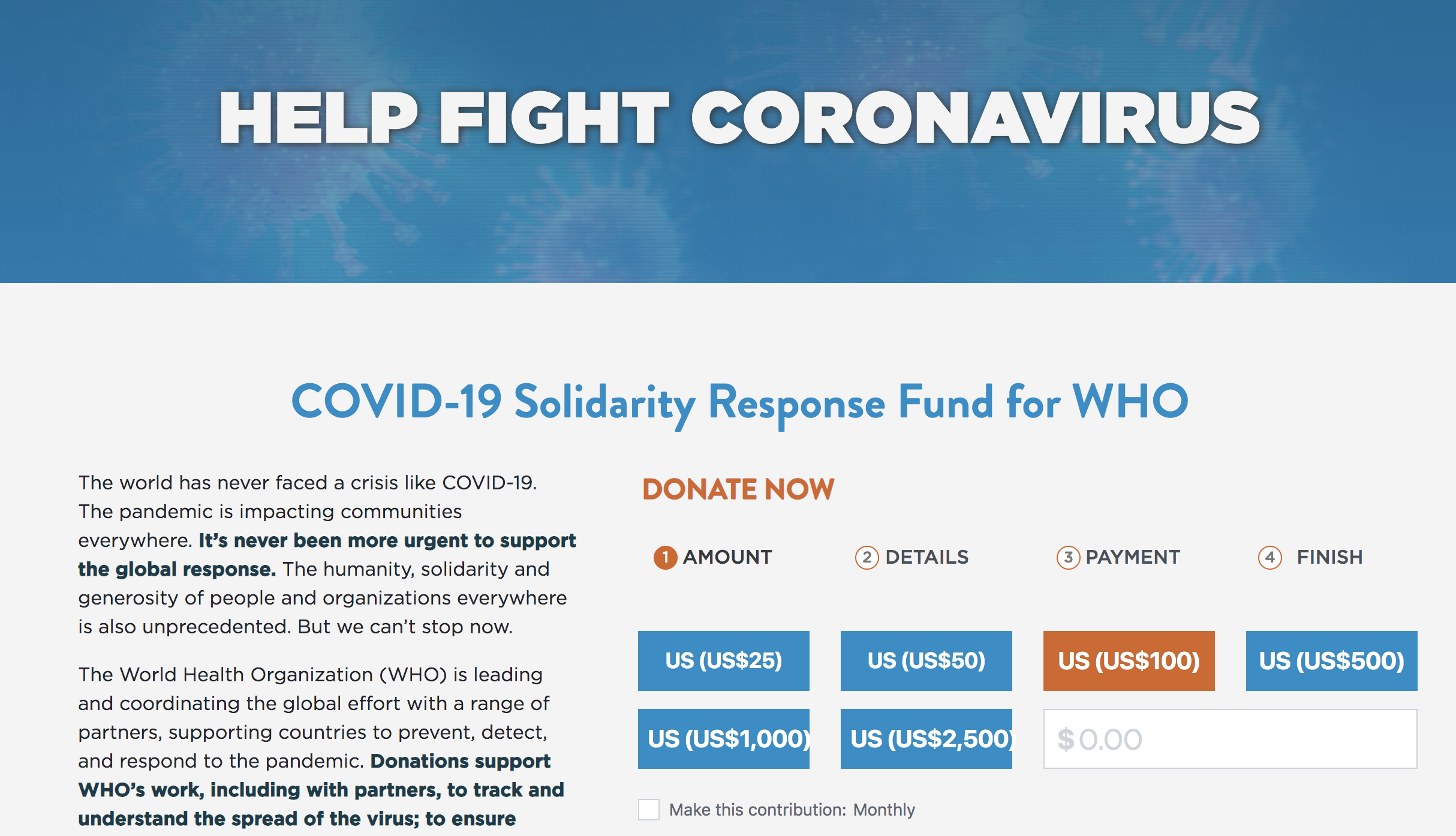 COVID-19 Solidarity Response Fund for WHO