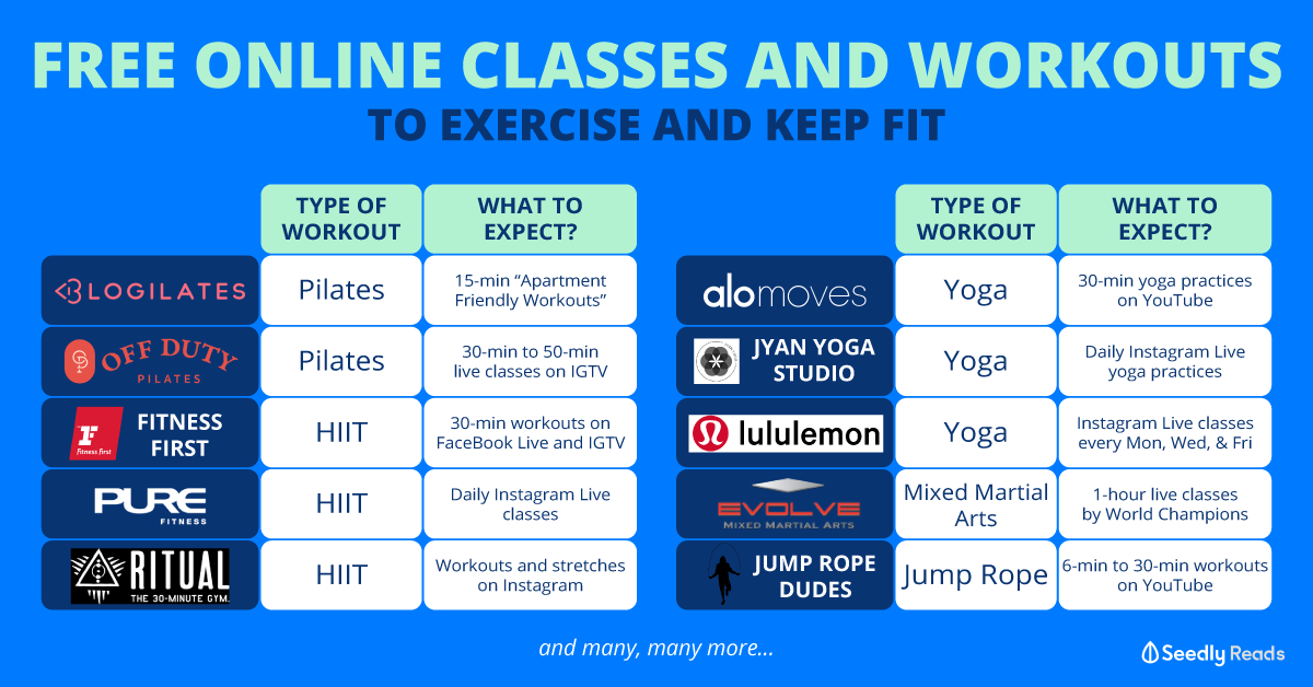 Seedly Free Online Classes and Virtual Fitness Workouts to Exercise and Keep Fit
