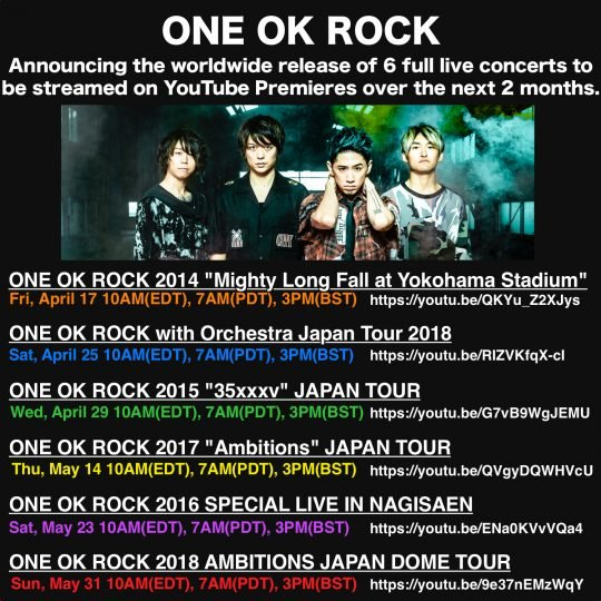 ONE OK ROCK CONCERTS