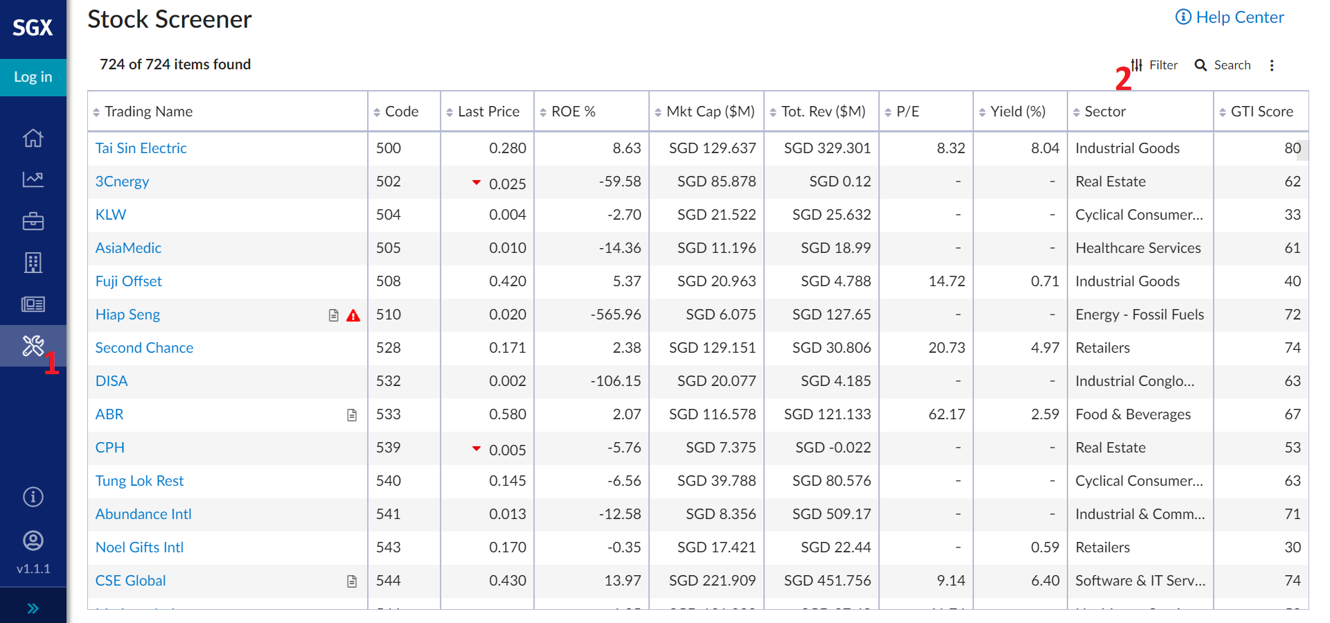 Stocks Screener SGX Portal