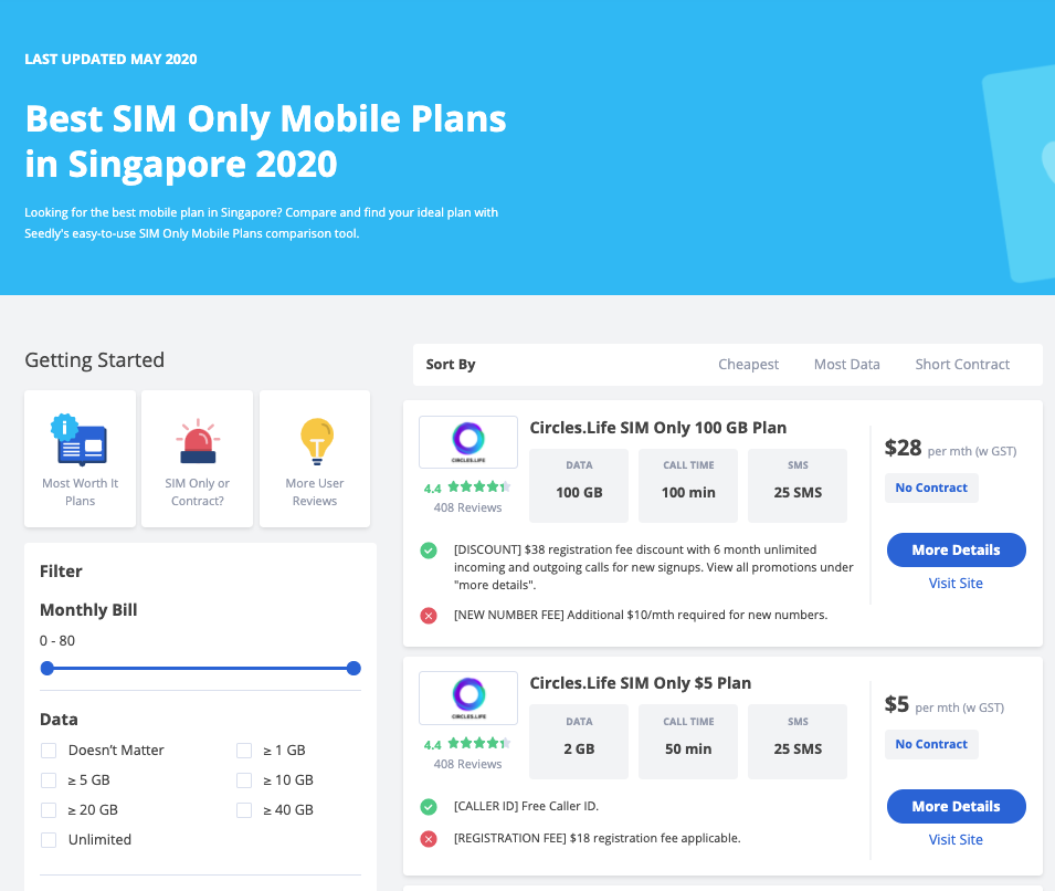 Seedly SIM Only Plan Comparison Tool