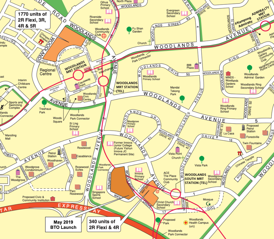 Map of Woodlands August 2020 BTO Launch