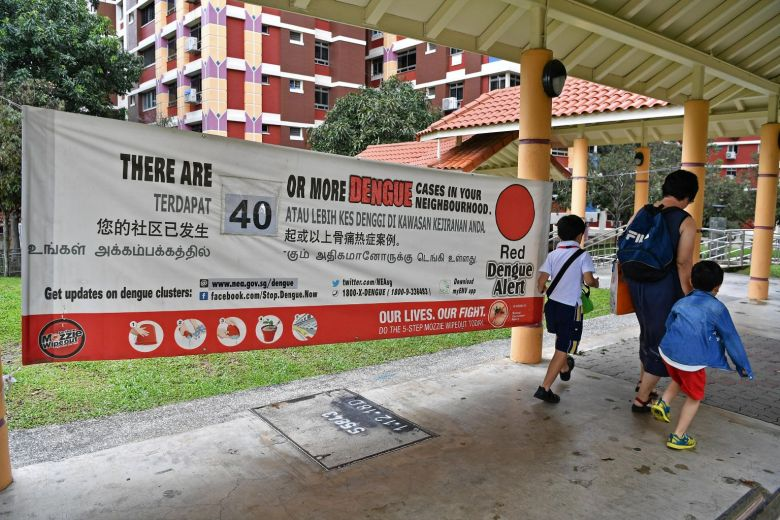 dengue cluster singapore banner red zone