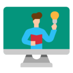 man with lightbulb and book teaching class online